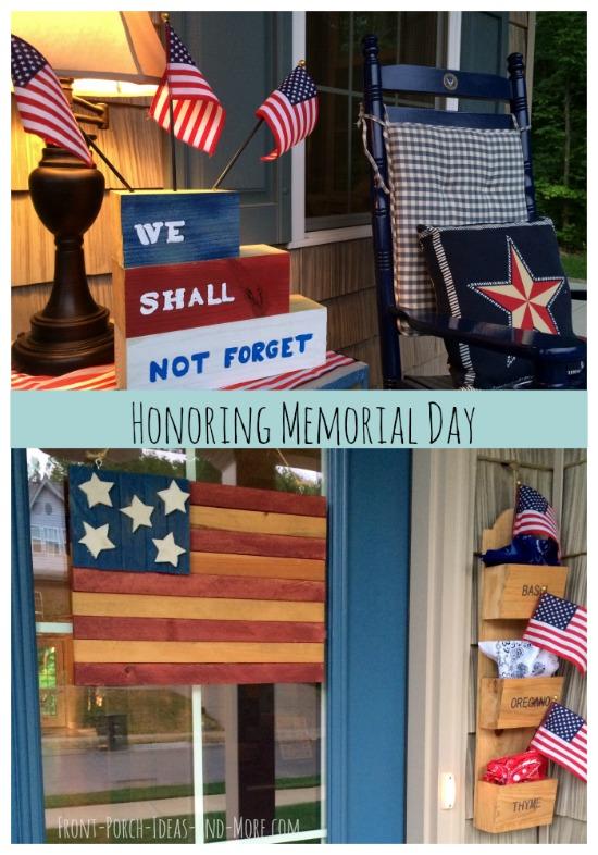 Decorating the porch for Memorial Day