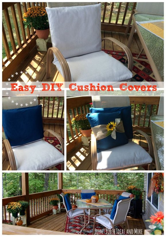 Easy DIY cushion covers for our autumn back porch - just like a pillowcase