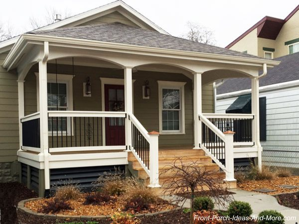 mansard front porch roof under home's gable roof
