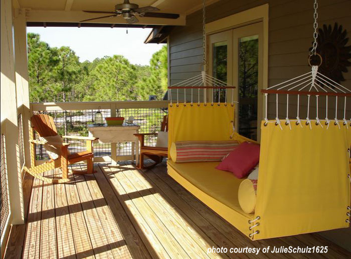 yellow swingbed on porch