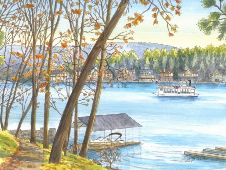 Capture a family vacation memory like this Lake Arrowhead CA lake view - get more details on Front Porch Ideas and More