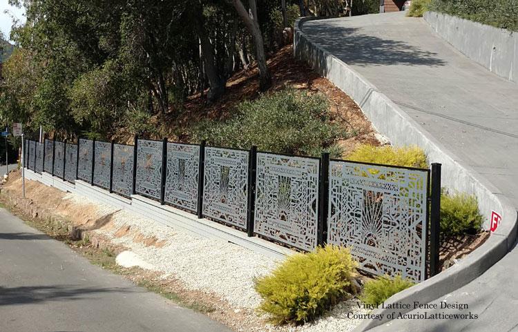 vinyl lattice fence in garden