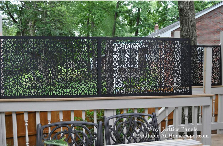 vinyl lattice privacy panel on back porch