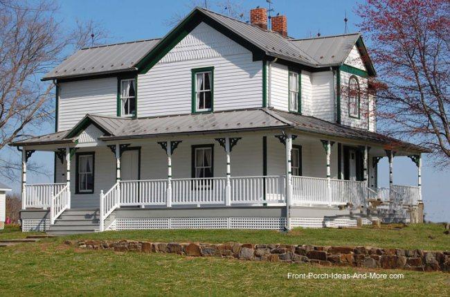 Farm house porches country porches wrap around porches for Landscape design around farmhouse front porch