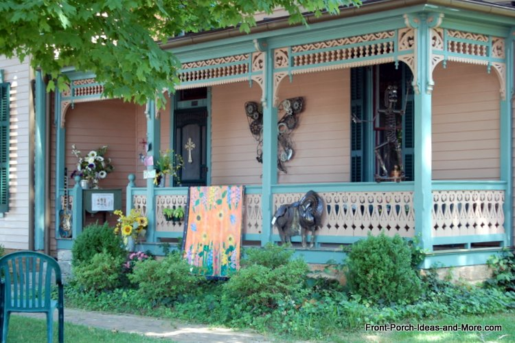 Lovely porch in Leipers Fork TN includes beautiful butterfly metal wall art