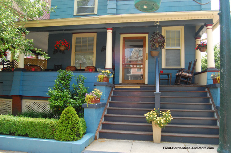 painted front porch steps and risers