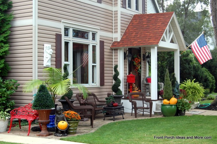 Lovely Porch Extension Using Wide Walkway Beside House