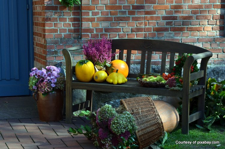 bench decorated with autumn harvest