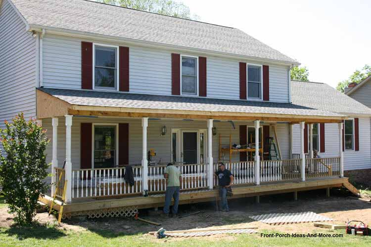 new front porch construction with porch railings installed