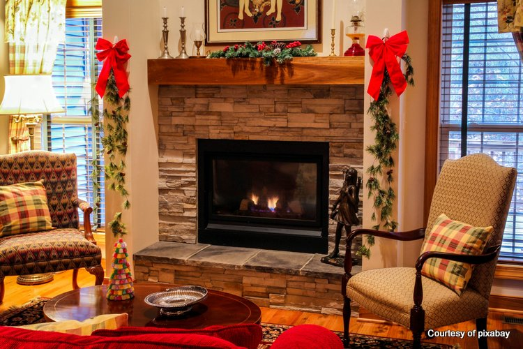 Mantel shelf with  Christmas decorating ideas