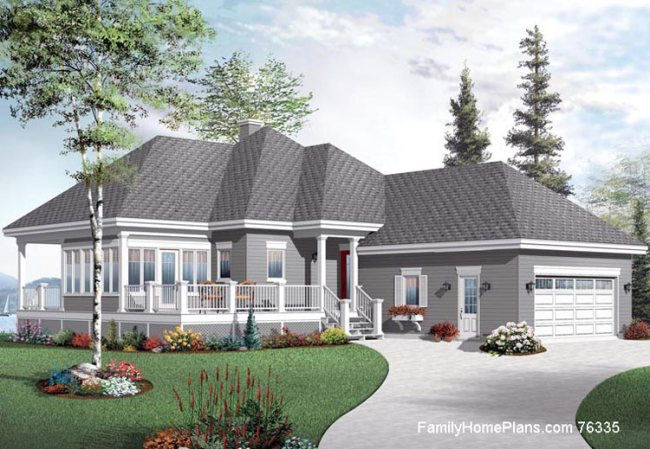 Ranch home with very nice front porch - beautiful stone work and shakes combine to make this a wonderful home. Plan #76335