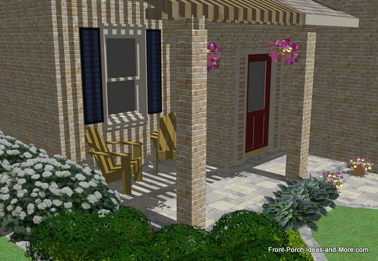 patio separate from porch with walkway access
