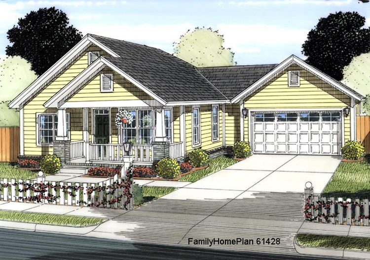 small house plan 61428 with cozy front porch by Family Home Plans
