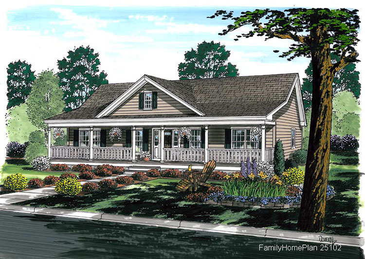 expansive front porch in ranch home from plan 25102