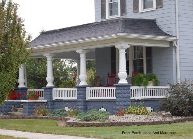 typical open country style porch with stately porch columns