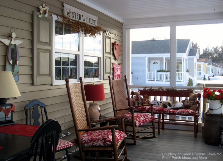 valentine decorated front porch
