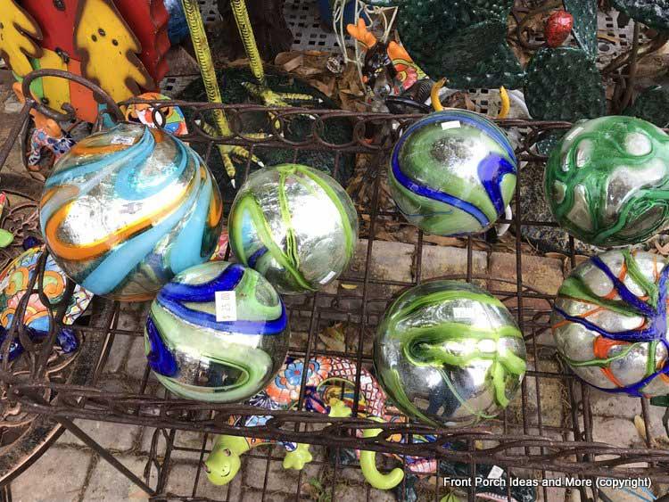 Yard Art Emporium - blue and green swirly gazing-ball