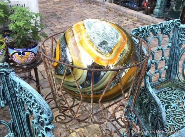 Yard Art Emporium - gold gazing-ball