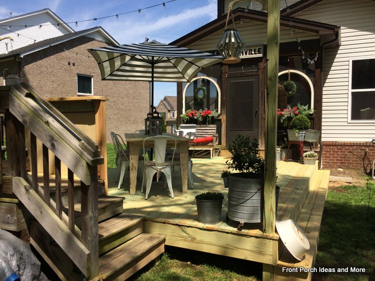 They used their salvaged porch steps to create a DJ box for outdoor parties