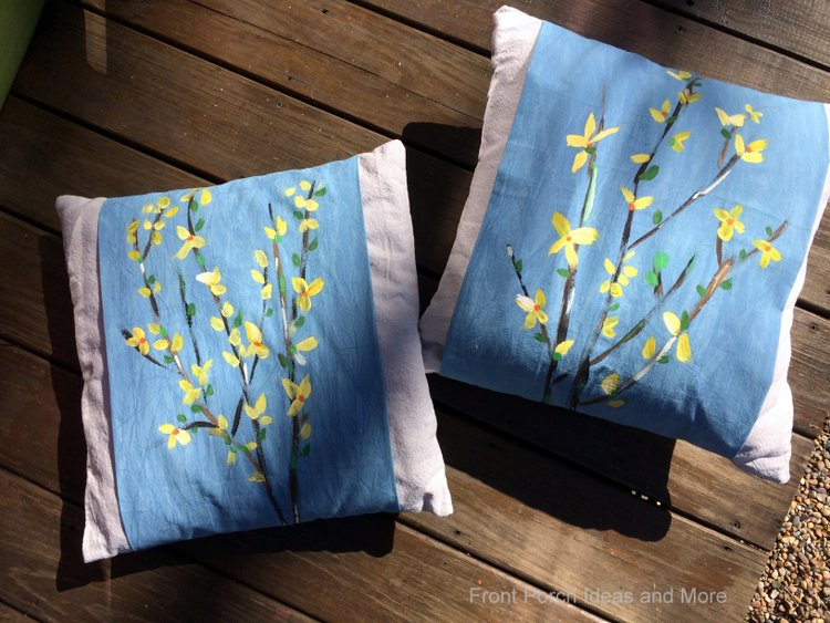 Two of our finished forsythia pillow toppers