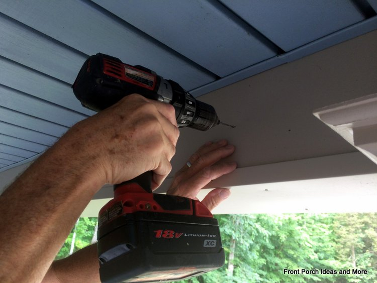 drilling pilot holes for porch shade holders