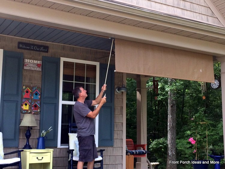 using a crank to raise roll up porch shades