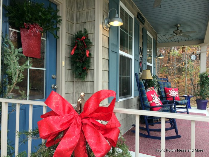 Close-up of our snowflake front porch