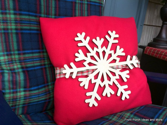 Close-up of our fleece-covered pillow with snowflake attached