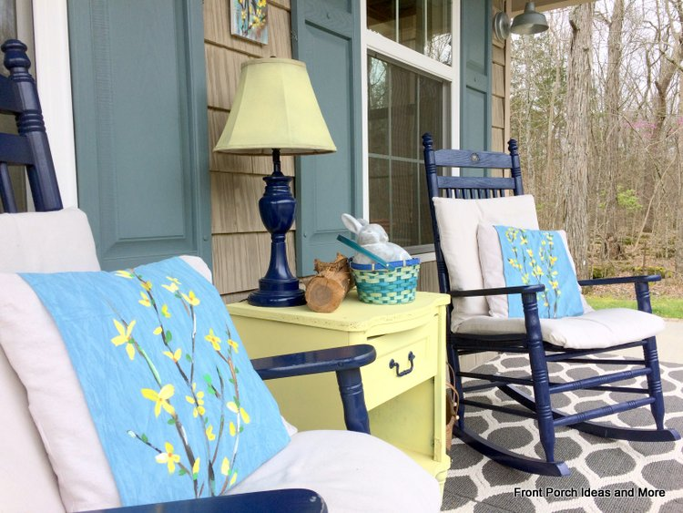 Close-up of our spring porch using forsythias as our theme