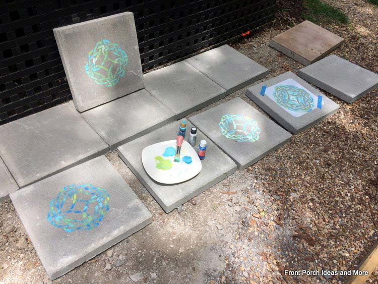 stenciled pavers for a small patio area