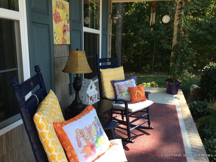 front porch with our watercolor autumn porch pillows