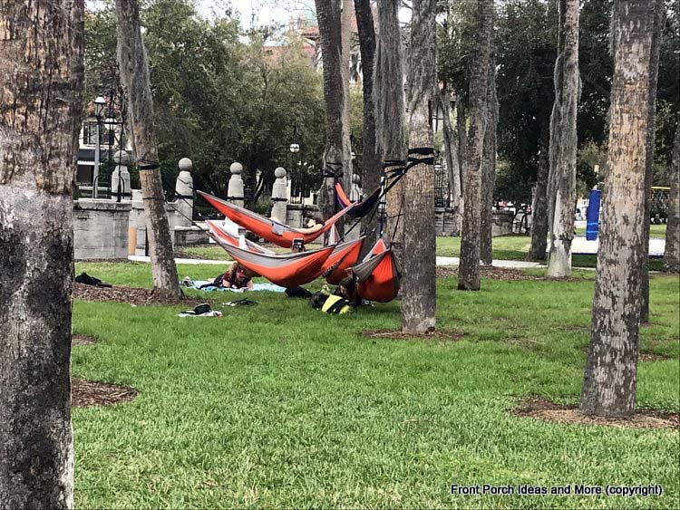Hammocks on Flagler College campus - where students study in St. Augustine