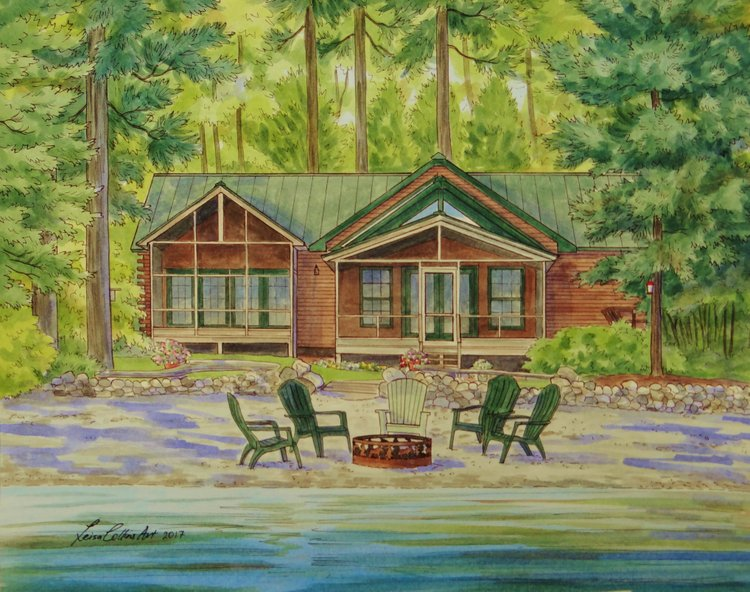 a custom portrait of a vacation home