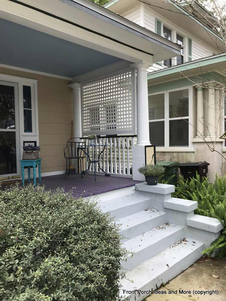 St. Augustine porch with purple painted floor