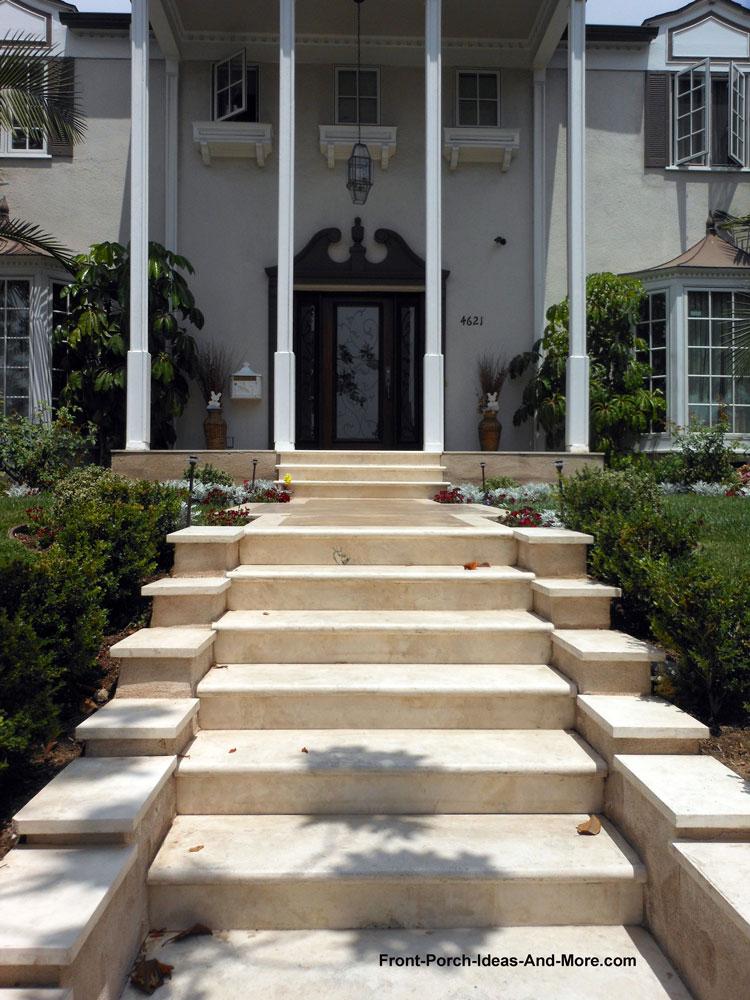 Fancy concrete porch steps made from concrete