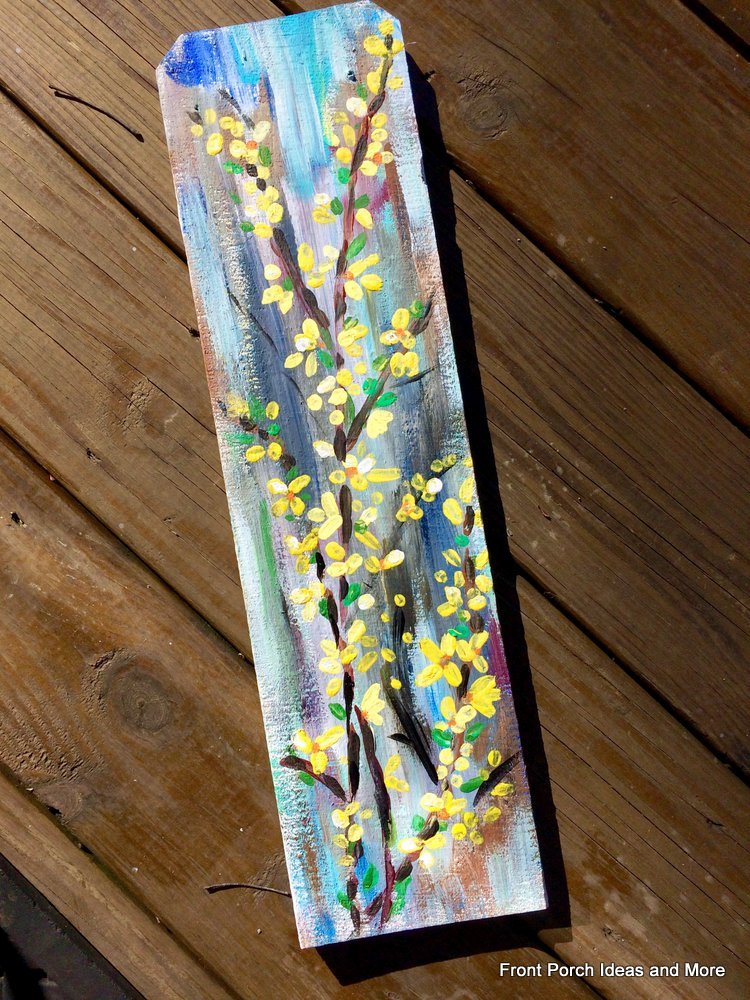 forsythia wall art for our spring porch