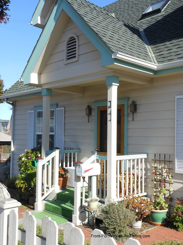 Ordinaire Colorfully Decorated Small Front Porch With Gable Roof. Small Porch Design  Options
