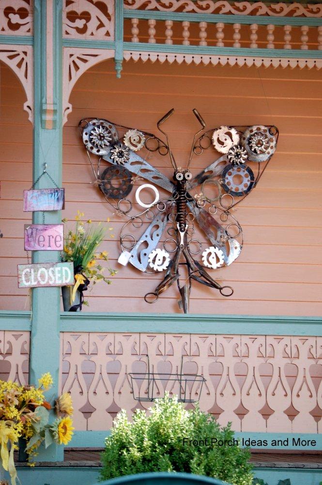 beautiful butterfly sculpture as outdoor metal wall art