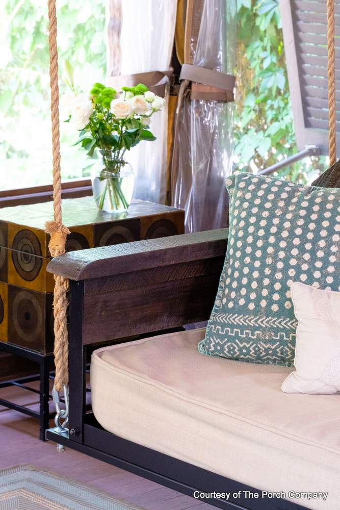 adjustable swing bed in a beautiful rustic style