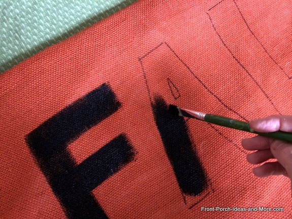 lettered swing cushion - paint inside the lines of the letters