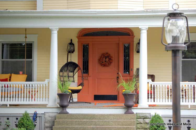 Beautiful wreath on this front door is a focal point