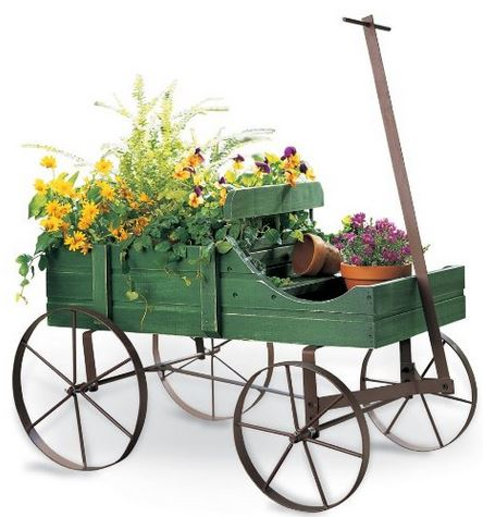 vintage wheel barrow and garden planter from amazon