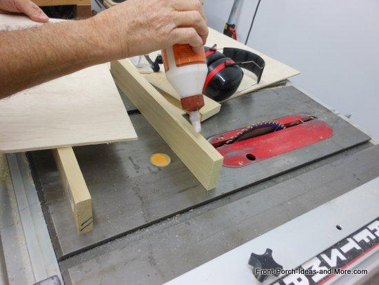 applying glue to frame