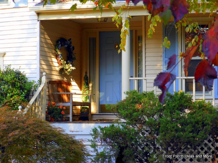 autumn decorations on the front porch