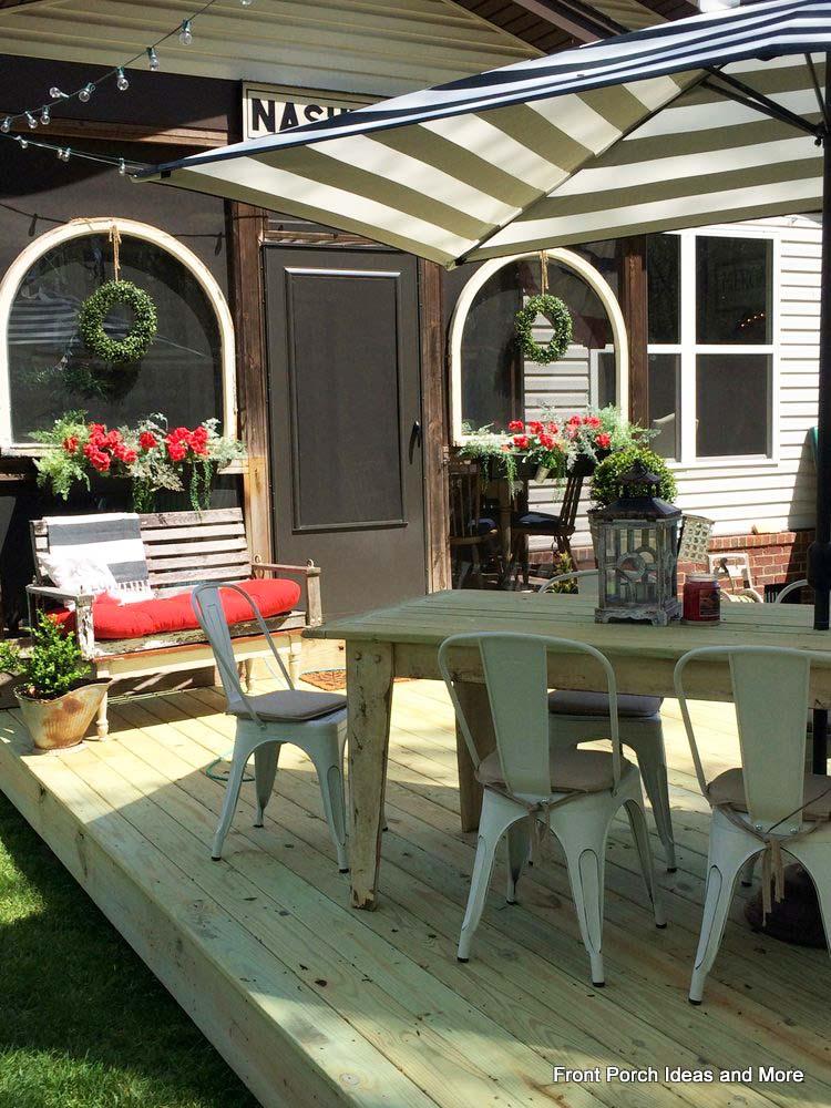 Backyard shade with a rectangle umbrella