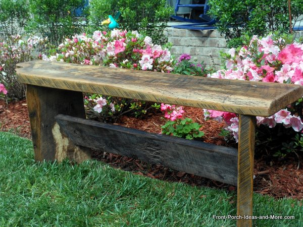 recycled barnwood to make garden bench