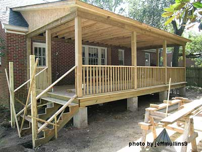 Construction of screen porch with beadboard ceiling