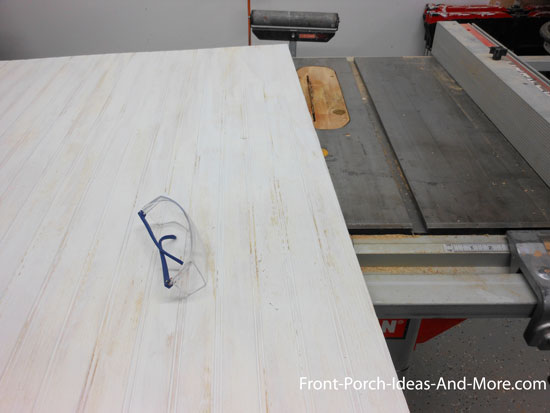 cutting faux fireplace chase (beadboard) to size