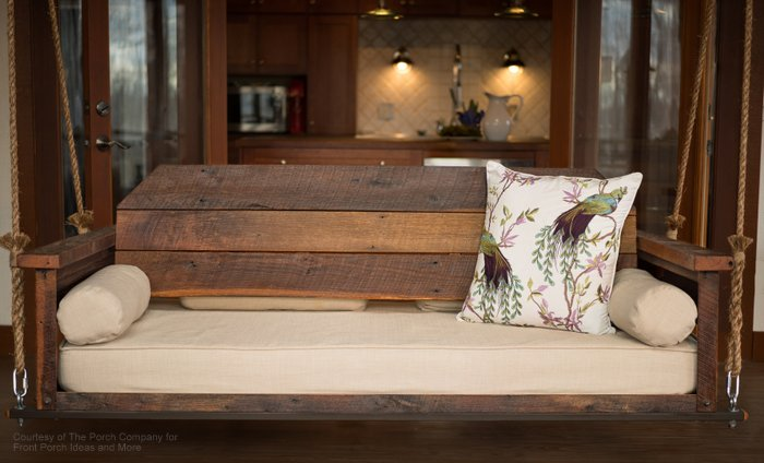 rustic bed swing made of barn wood and adjustable by The Porch Company