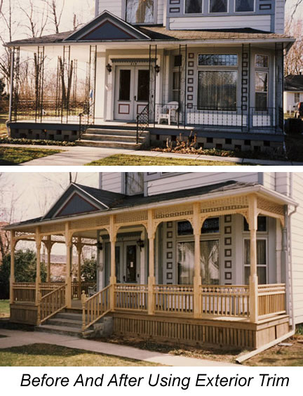 before and after exterior house trim on front porch